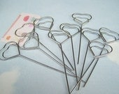 Heart Shaped 10 Pcs Wire Memo Holder Clips, Sign Holder, Escort Card Display, Namecard Holder, Pick