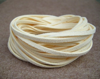 20Yds (1,800cm or 60Ft)-  Ivory Faux Suede Cord, Lace, String (FS3-6)
