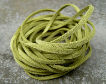 20Yds (1,800cm or 60Ft)- Olive Green Faux Suede Cord, Lace (FS3-21)