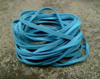 20Yds (1,800cm or 60Ft)- Cerulean Blue Faux Suede Cord, Lace (FS3-10)