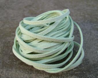 10Yds (900cm or 30Ft)- Pastel Mint Faux Suede Cord, Lace (FS3-53)