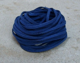 20Yds (1,800cm or 60Ft)-  Blue(Old Name: Navy Blue)  Faux Suede Cord, Lace (FS3-61)