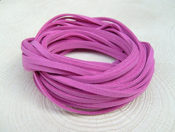 10Yds (900cm or 30Ft)- Margenta  Pink Faux Suede Cord, Lace (FS3-59)