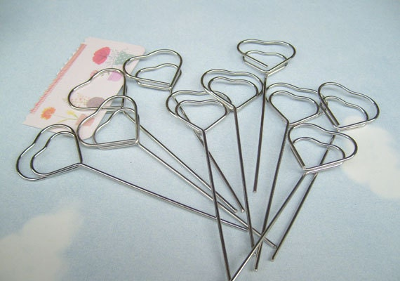 10 pcs heart shaped wire memo holder clipslarge sign
