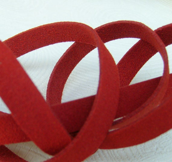 5 Yds(450 cm or 15Ft) Red-5 of 900X10mm Faux Suede Lace Straps (FS10-17)