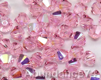 Swarovski Elements Crystal 5328 5301 Xillion Bicone Beads LIGHT ROSE AB - Available in 3mm ,4mm and 6mm