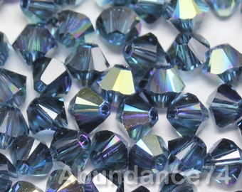 Swarovski Elements Crystal 5328 5301 Xillion Bicone Beads MONTANA AB - Available in 3mm and 4mm