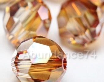 12 pcs Swarovski Elements - Swarovski Crystal Beads 5000 8mm Round Ball Beads - COPPER