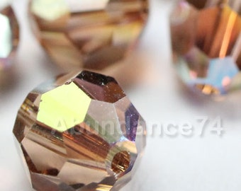 12 pcs Swarovski Elements - Swarovski Crystal Beads 5000 8mm Round Ball Beads - Light Smoked Topaz AB