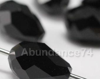 6 pcs 5500 Swarovski Elements Teardrop Crystal 9mm Faceted Loose Beads - Jet Black