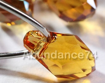 Chose Sizes and Quantity - Swarovski Elements Crystal Pendants 6007 7mm and 9mm Small Briolette TOPAZ