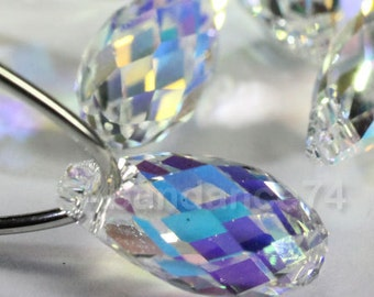 Swarovski Crystal Pendants Briolette Pendant Teardrop 6010 CRYSTAL AB - Available in 11mm and 13mm ( Chose Quantity)
