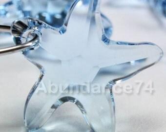2pcs Swarovski Elements - Swarovski Crystal Pendant 6721 16mm Starfish Pendant - Aquamarine
