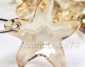 2pcs Swarovski Elements - Swarovski Crystal Pendant 6721 16mm Starfish Pendant - Crystal Golden Shadow