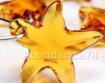 2pcs Swarovski Elements - Swarovski Crystal Pendant 6721 16mm Starfish Pendant - Topaz