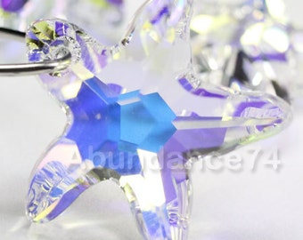 2pcs Swarovski Elements - Swarovski Crystal Pendant 6721 20mm Starfish Pendant - Crystal Clear AB