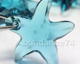 2pcs Swarovski Elements - Swarovski Crystal Pendant 6721 20mm Starfish Pendant - Indicolite