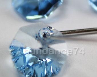 12pcs Swarovski Elements - Swarovski Crystal Pendant 6401 8mm Octagon Pendant - Aquamarine