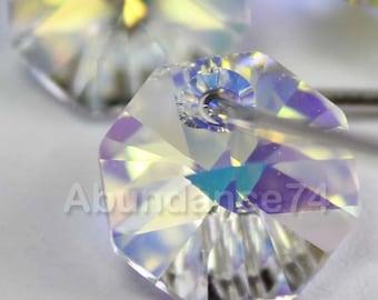 6pcs Swarovski Elements - Swarovski Crystal Pendant 6401 12mm Octagon Pendant - Crystal Clear AB