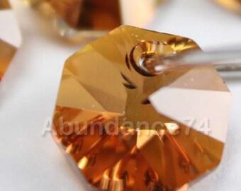 12pcs Swarovski Elements - Swarovski Crystal Pendant 6401 8mm Octagon Pendant - Crystal Copper