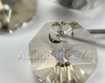12pcs Swarovski Elements - Swarovski Crystal Pendant 6401 8mm Octagon Pendant - Crystal Silver Shade