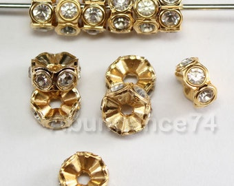 12 pcs Swarovski Crystal 6mm 4720 Rondelle Gold spacer Finding w Clear Crystal beads