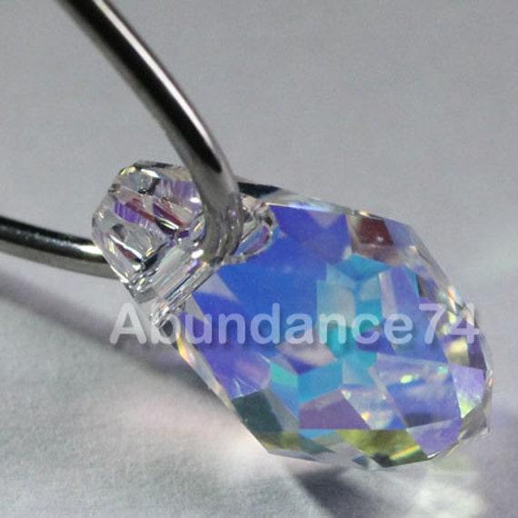 12pcs Swarovski Elements - Swarovski Crystal Pendants 6007 7mm Small Briolette - Crystal Clear AB