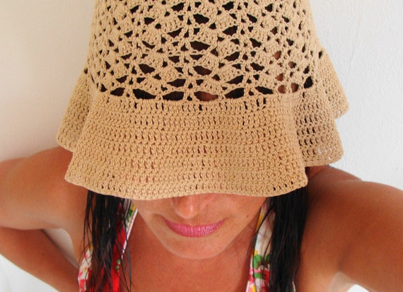 Hand Crochet Sun Hat 70s French Vintage