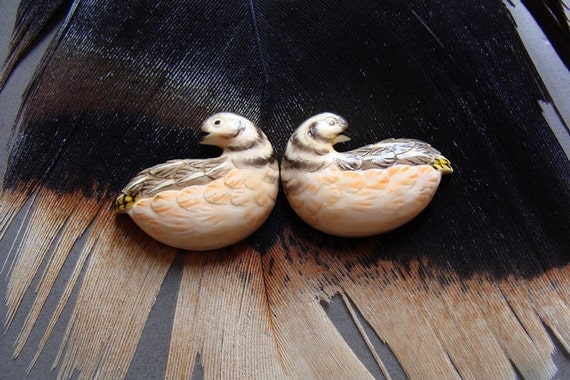 Antique Ivory Birds Pre-Ban Carved Asian Quails