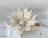 Zephyr's kiss, sweet tender ivory large oversized wedding brooch, one-of-a-kind OOAK
