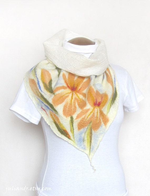 Iris flowers bactus. Delicate and lightweight nunofelted neck scarf made out of silk and soft wool, unique one-of-a-kind accessory