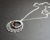 Original JaKiGu Lace Pendant. Handwoven Fine-Silver Bobbin Lace with Garnet-red Beads.