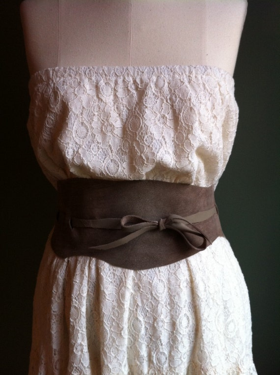 Suede Obi Belt- Taupe with Taupe Tie 2