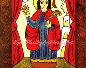 "New Mexico Santo Saint Postcard Print, St. Barbara, ""Protector of the Home,"" Folk Art, Christian Art"