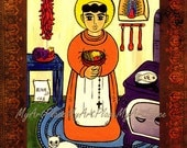 RESERVED FOR VICKI Art Postcards, San Pascual, St. Pasquale, Patron of Cooks & the Kitchen, Religious Art, New Mexico Santo Saint, Folk Art
