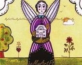 "Folk Art Postcards, Art Prints, ""House Guardian,"" Angel, Primitive Art, Naive, House, Guardian"