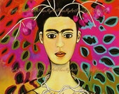 "Frida  Art, Postcards, Art Prints, ""Primavera,"" Fantasy, Surreal, Portraits, Mexico, Latin"
