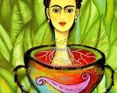 """Frida  Art, Postcards, Art Prints, """"Aqui Me Ahogo, Y Tu,""""  Portraits, Mexico, Latin, Surreal, Surrealism"""