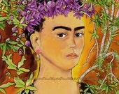 "Frida Kahlo Art, Postcards, Art Prints, ""Las Flores de Frida,"" Portraits, Mexico, Latin, Flowers"