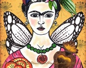 "Frida Kahlo Art, Original ACEO Collage ""Te Adoro,"" Artist Trading Card, Portraits, Mexico, Latin, Milagro, Flowers"