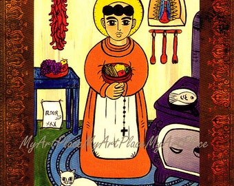 Kitchen Saint, San Pascual, Saint Pasquale, Art Postcard, Patron of Cooks & the Kitchen, Religious Art, New Mexico Santo, Folk Art, Catholic