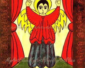 Angel Art, Catholic Art, Mexican Art, Guardian Angel, Folk Art, Religious Art, Christian Icon, New Mexico Style, Art Postcard, Spiritual Art