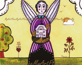 Folk Art Angel, Angel Art, Primitive Art, Angel Postcard, House Guardian, Religious Art, Guardian, Art Postcards, Angel Print, Spiritual Art