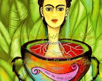 Frida Kahlo Art, Art Postcards, Mexican Art, Frida Portrait, Surreal, Surrealism, Latin Art, Mexico, Frida Kahlo Print, Frida Cards, Woman
