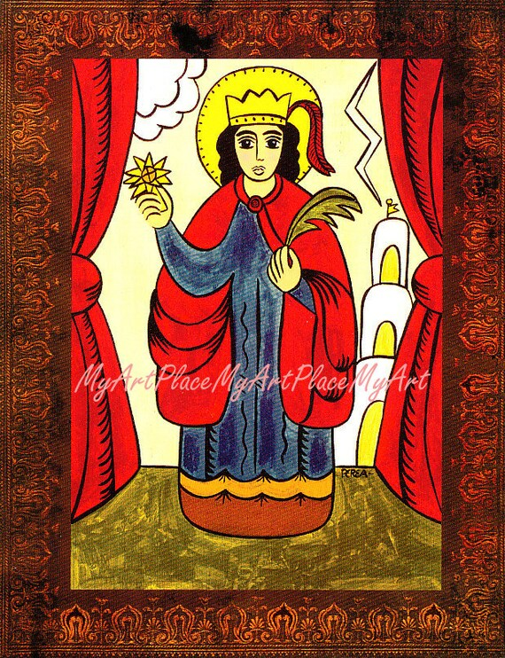 "New Mexico Santo Saint Postcard Print, St. Barbara, ""Protector of the Home,"" Folk Art, Christian Art, Catholic Art, Santo, Religious Icon"