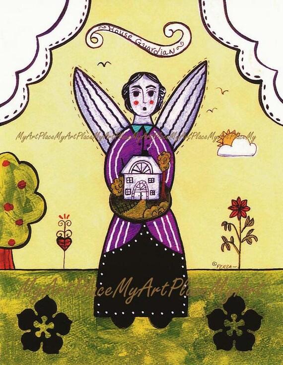 "Folk Art Postcards, Art Prints, ""House Guardian,"" Angel, Primitive Art, Naive, House, Guardian"