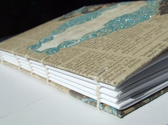 Teal, Roses, and Old Newsprint Coptic Stitch Journal/Diary