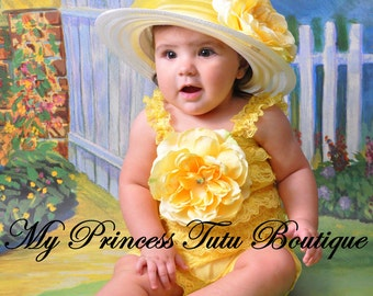 Yellow Rose of Texas Lace Petti Romper