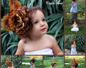 Vintage flower headband girls headband flower and feather headband