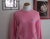 Free Shipping Vintage HUNTER'S GLEN Preppy Pink Sweater With Embroidered Unicorn Emblem